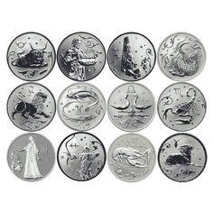 12Pcs/ Set Russian 12 Zodiac Signs Commemorative Coins Exquisite Silver Souvenir Metal Craft Coins