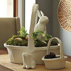 For Easter obviously...West Elm's cute paper mache bunny and basket combo is very sweet..
