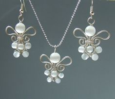 White bride bridesmades necklace earrings jewelry by VeraNasfa, $39.00