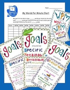 Computer Words Per Minute Chart & Poster Set (Includes Goal Setting Posters) #TpT #TeacherGems #computers
