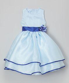 This Blue Sash Flower Dress - Infant, Toddler & Girls by Kid Fashion is perfect! #zulilyfinds