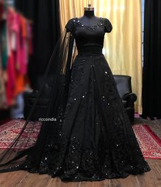 Black Lehenga with black sequin work Party Wear Indian Dresses, Designer Party Wear Dresses, Indian Gowns Dresses, Indian Bridal Outfits, Party Wear Lehenga, Indian Fashion Dresses, Pakistani Bridal Dresses, Dress Indian Style, Indian Designer Outfits