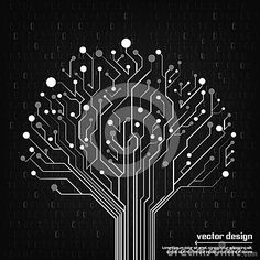 Vector circuit board electronic tree design vector design