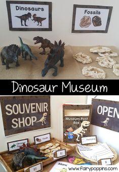 Dramatic Play Themes, Dramatic Play Area, Dramatic Play Centers, Dinosaurs Preschool, Dinosaur Activities, Preschool Activities, Summer Activities, Family Activities, Dinosaur Museum