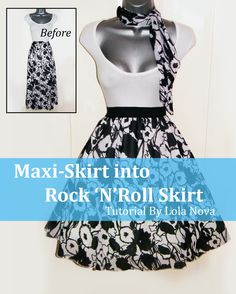 Skirt Upcycle Tutorial: Maxi Skirt Into Retro Style Rock 'N' Roll Skirt - Lola Nova Upcycling Retro Fashion 50s, Rockabilly Fashion, Vintage Dress Patterns, Vintage Dresses, 1950s Dresses, Vintage Sewing, Sewing Patterns, Diy Clothing, Sewing Clothes