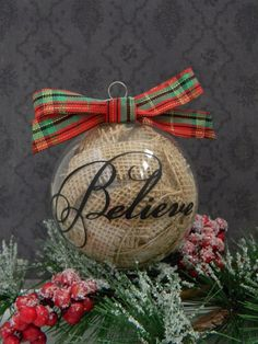 Rustic glass Christmas ornament