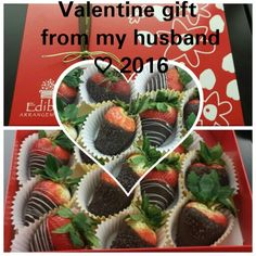 To my surprise my husband hand delivered chocolate strawberries to my work... felt very special♡ Starting the Valentine weekend off right. FEB12,2016