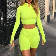 Fantoye Two Piece Set Fluorescent Green Top Shorts Suit Sexy Turtleneck Long Sleeve Bodycon Sport Suit Casual Femme Tracksuit Neon Outfits, Short Outfits, Trendy Outfits, Summer Outfits, Cute Outfits, Fashion Outfits, Neon Crop Top, Crop Top And Shorts, Neon Shorts