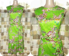 Vintage 60s Lime Green Floral Drop Waist Ruffle by IntrigueU4Ever