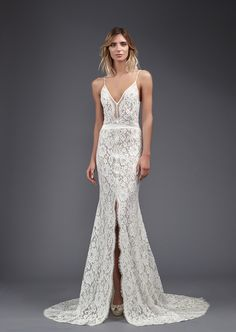 This lace accented Victoria KyriaKides wedding dress has two wedding chicks thumbs up!