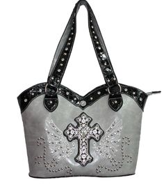 Gray Rhinestone Wing Cross Western Purse - want!!