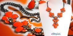 Collar naranja y plateado www.estylos.es