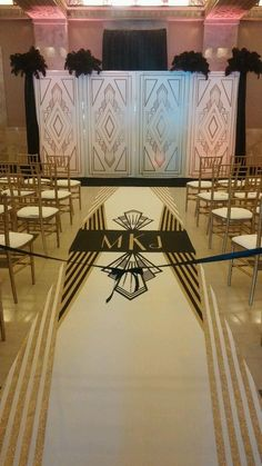 gorgeous art deco aisle runner by The Original Runner Company.  perfect for this wedding!  www.originalrunners.com