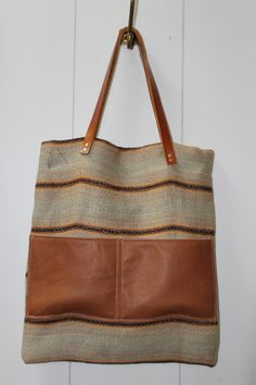 Leather and Linen Tote Bag