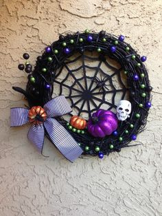 Black grapevine Halloween wreath
