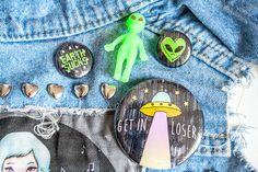 Earth Sucks Set of 4 Pins Alien UFO by dannybrito on Etsy