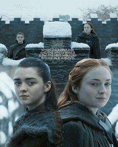 The pack survives . Arya and Sansa Sansa Stark, Eddard Stark, Game Of Thrones Quotes, Game Of Thrones Art, Valar Dohaeris, Valar Morghulis, Winter Is Here, Winter Is Coming, Hunger Games Humor