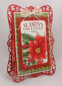 Christmas Die Cut Card using Spellbinder's Timeless Rectangles and two beautiful Flourishes stamp sets