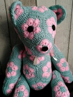 Handmade crochet toys Teddy Bear African Flower by LanaGatto