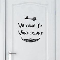 Alice in Wonderland Wall Sticker Art Decor Welcome To Alice in Wonderland Wall Decals Kids Room Wall Door Decoration