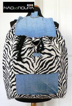 Mochila Zebra Nº8, Jeans e tecido zebra KA NãoSóRoupa| Design by Patrícia Domingues