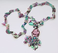 freeform necklace with focal bead  - from curleytop1