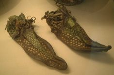 Adult woman's shoes (2nd-3rd Century AD) found at archaelogical excavation at Southfleet (Springhead), Kent.
