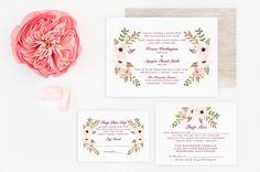 Vietnamese Wedding Invitation, Reception and RSVP - Do-It-Yourself - Watercolor Floral Flowers -Linda