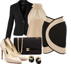business attire, stylish work outfit, work clothes, heels, black blazer, skirt WANT IT!!!!!!!