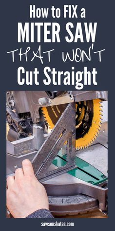 I was so frustrated! My miter saw was cutting crooked and all of the cuts for my DIY projects were messed up! Then I found this tutorial with the best tips! I learned how to square the blade to the table and the fence to the blade. Now my miter saw cuts straight every time! #mitersaw #diy #woodworking #woodworkingtips #woodworkingtools #woodworkingideas #diywoodworking #sawsonskates Woodworking Power Tools, Woodworking Jobs, Woodworking Patterns, Easy Woodworking Projects, Popular Woodworking, Woodworking Furniture, Wood Projects, Wood Furniture, Woodworking Jigsaw