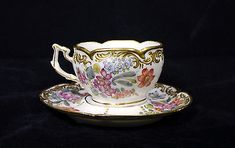 BOURDOIS & BLOCH CUP & SAUCER ANTIQUE FRENCH PORCELAIN PARIS 1885