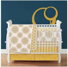 Love this color combo!!  4 pc Custom Crib Set - Blanket, Bumper, Skirt and sheet - Design your own on Etsy, $380.00