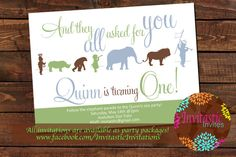 Zoo Birthday Party Invitation Safari Jungle by InvitasticInvites