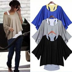 2015 Spring Summer New Casual Fashion Loose Batwing Sleeve Women Top Tank + T Shirt Plus Size 4 Solid Colors Online with $30.8/Piece on Blackfriday's Store   DHgate.com