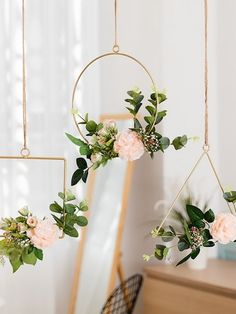 Delighted Simple Iron Hanging Flower Decorative Ornament - Add vibrancy to your home with our decorative wall garland. The combination of artificial flowers a - Diy Wall Decor, Home Decor Wall Art, Diy Home Decor, Diy Wand, Flower Decorations, Wedding Decorations, Hanging Decorations, Hanging Ornaments, Ornaments Ideas