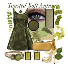 Toasted Soft Autumn by prettyyourworld on Polyvore featuring Alice + Olivia, Giuseppe Zanotti, Bottega Veneta, Brooks Brothers, By Terry, Bare Escentuals, shu uemura, Dot & Bo and NARS Cosmetics