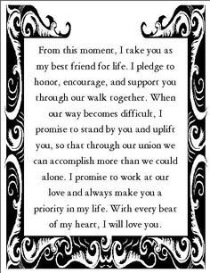 nontraditional wedding vows best photos is part of Wedding vows examples - 14 Lyssabeth's Wedding Officiants Image source 13 Nontraditional Wedding Vows That Will Make You Believe In Love… Continue Reading → Wedding Vows For Him, Romantic Wedding Vows, Do It Yourself Wedding, Wedding Quotes, Funny Wedding Vows, Wedding Rustic, Nontraditional Wedding Ceremony, Sample Wedding Vows, Wedding Reception