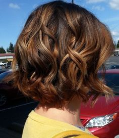 Love this style wavy dark brown bob with caramel highlights...maybe if i ever go a normal colour