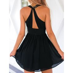 Sexy Plunging Neckline Sleeveless Open Back A-Line Chiffon Dress For Women