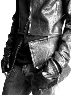 Cross zip OBSCUR leather jacket