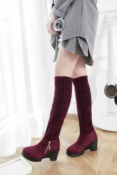 Womens Zip Block High Heels Pull On Over The Knee Stretch Winter Sweater Boots