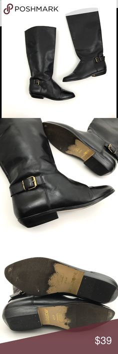 """Apostrophe Knee High Leather Low Heel Boots Apostrophe   Black Leather Tall Buckle Detail Low Heel  Women's Boots Size 6.5 M Shoes Pre Owned Boots, in Great Shape! No Holes, Stains or Fading Leather Has Been Recently Conditioned  Original Box is Not Included  Boot Shaft: 13"""" Circumference: 7"""" Heel Height: 1"""" Outsole Heel to Toe: 9"""" Outsole width at widest point: 3""""     Item comes from a pet free/smoke free clean environment please contact me for any additional questions Apostrophe Shoes…"""