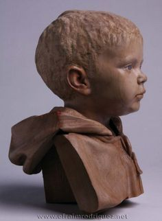 """'Martí with Cowl' - sculpture by Efraim Rodriguez;  Painted limewood and beechwood  (2011); 13"""" x 8.5"""" x 8.5"""""""