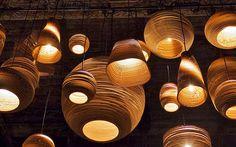LA Creatives Set Up Shop : Remodelista Scraplights (made from corrugated cardboard) Basket Lighting, Cool Lighting, Lighting Direct, Studio Lighting, Led Decoration, Luminaria Diy, Luminaire Led, Backyard Lighting, Porch Lighting