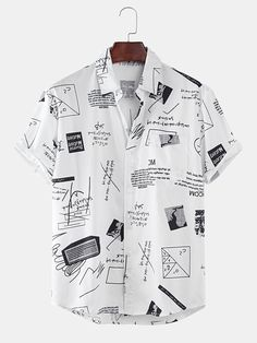 Mens Funny Abstract Cartoon Slogan Chest Pocket Short Sleeve Shirts is designer and cheap on Newchic. Mens Printed Shirts, Loose Shirts, Henley Shirts, Chemise Fashion, Cool Outfits, Casual Outfits, Men Casual, Shorts With Pockets, Summer Shirts