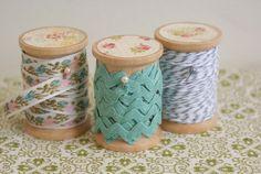 pretty wooden spools of trim, ribbon, twine
