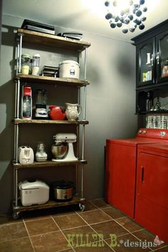 industrial shelf cart - maybe two of these, side by side, instead of the two shelves - save a little money - get a more industrial look?