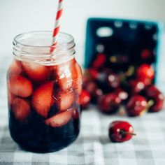 cherry balsamic shrub recipe - styled and photographed by Sandra Harris Probiotic Drinks, Non Alcoholic Drinks, Beverages, Yummy Drinks, Healthy Drinks, Refreshing Drinks, Healthy Eating, Shrub Drink, Kitchens
