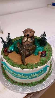 An Otter Cake Inspired By The Photo Of Otters Holding