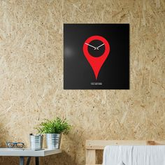 orologio-parete-minimal-design-wall-clock-youarehere-black-red-mood